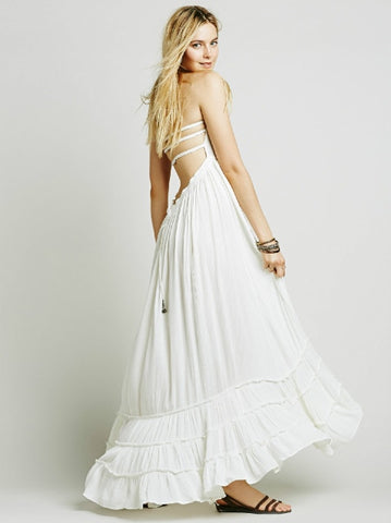 boho  long backless cotton dress