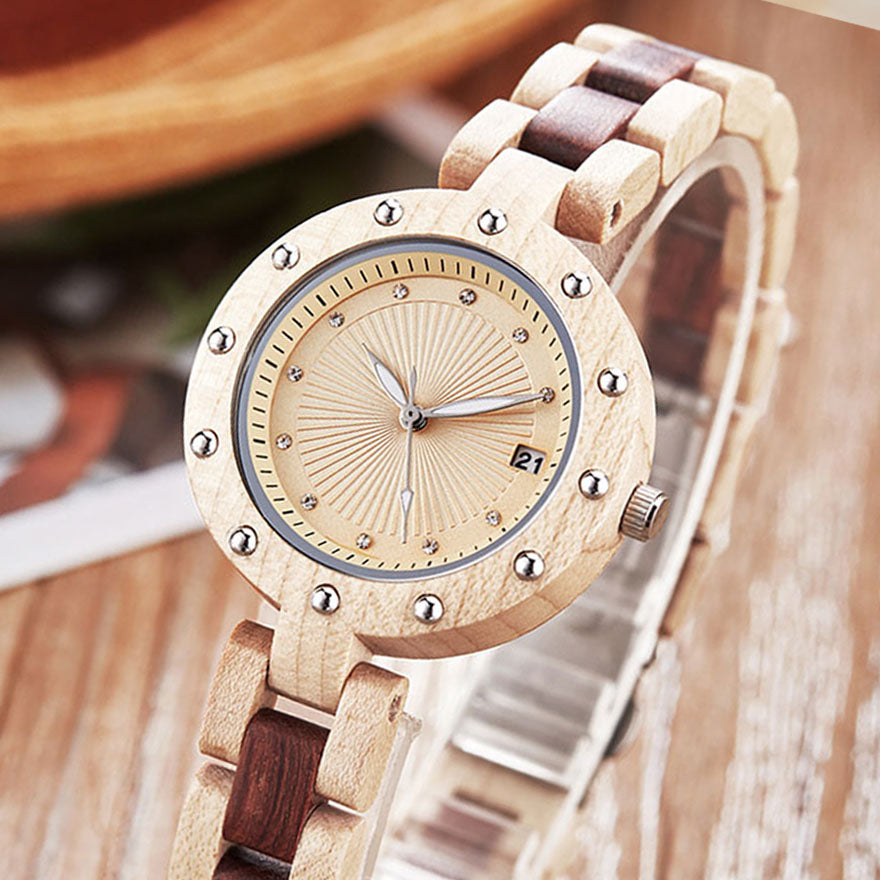 Walnut Rose Wooden Band Charm Watches