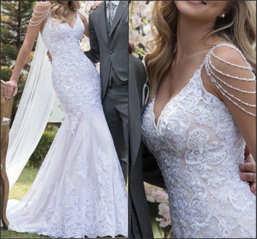 Sexy V Neck Backless Pearls Spaghetti Straps Bride Dress