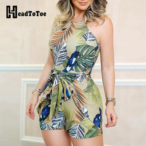 Tropical Print Knotted Design Romper