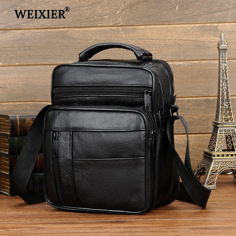 Casual Genuine Leather Cow skin Small Men Messenger Bags