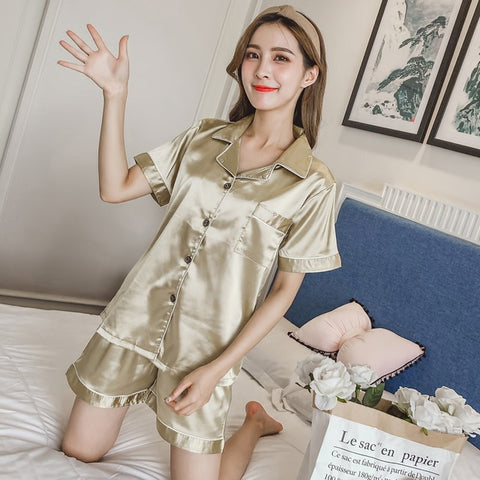 Silk Satin Pajamas Pyjamas Set Sleepwear