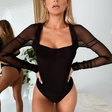 Black Solid Mesh Long Sleeve Bodysuit