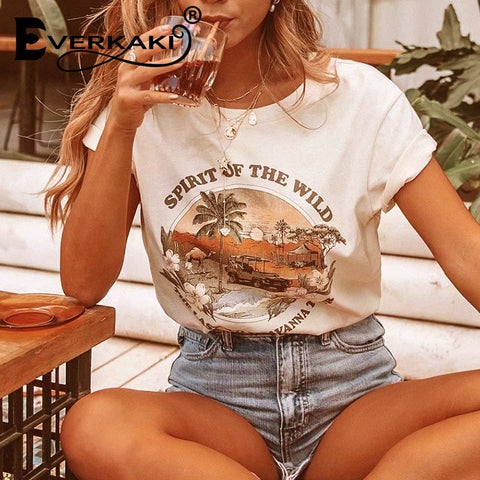 Boho chic fashion cotton tops o-neck trees print letter t-shirts
