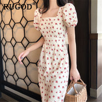 Vintage puff sleeve printed long dress