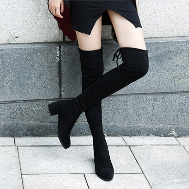 Elastic Flock Slim Fit Over The Knee Boots
