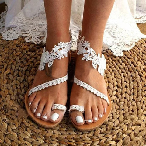 Flat Lace Open Toe Sandals