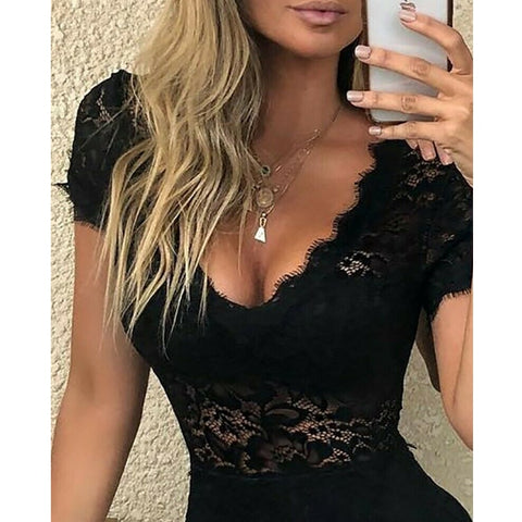 Floral Lace V Neck Chic Rompers
