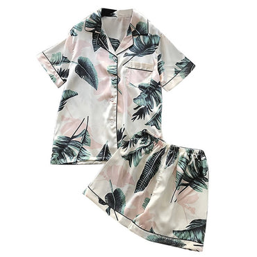 Simulation Silk Printing Pattern Pajamas Sleepwear
