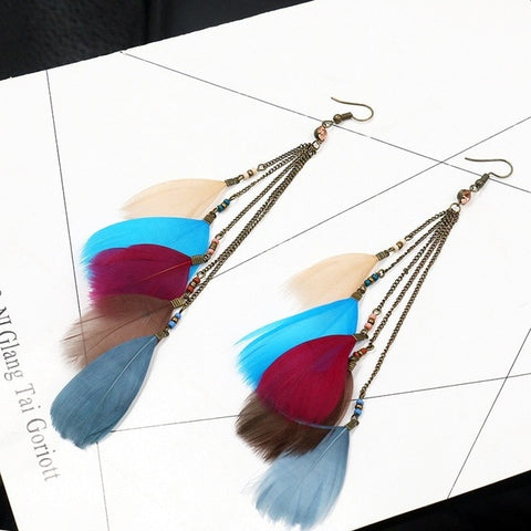 Bohemian long drop feather earrings accessories