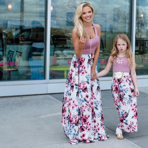 Sleeveless Floral Long Dress