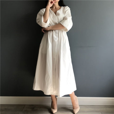Cotton Linen Elegant Pleated Dresses