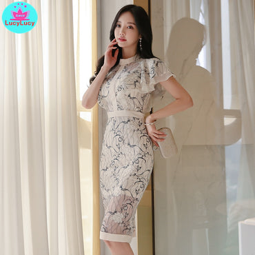 temperament lotus leaf sleeves sexy lace print dress