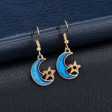 Blue Space Universe Moon Star Earrings