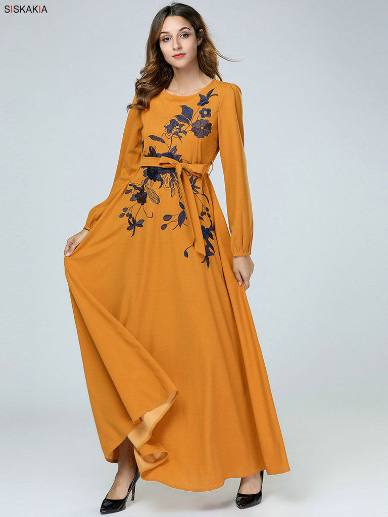 Ethnic Floral Embroidery Dress
