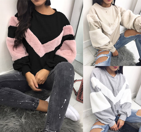 Plush Stitching Patchwork Pullover Sweatshirt