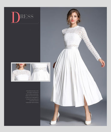 Casual Long Sleeve Stand White Dresses