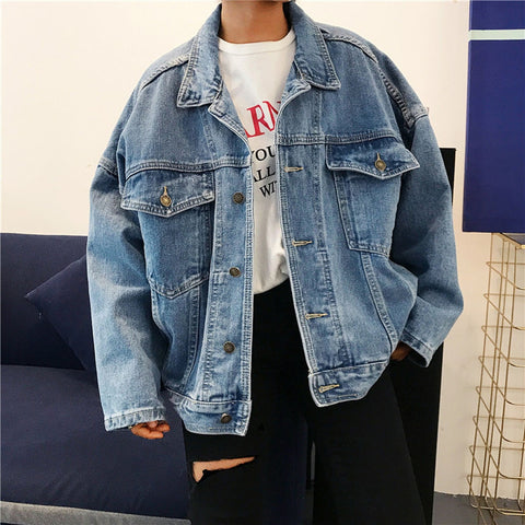 Loose Casual Retro Turn-down Collar Denim Jacket