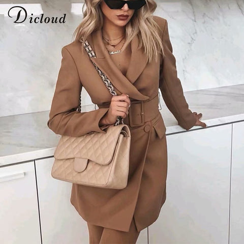 Long Sleeve Jacket With Belt A Line Dress