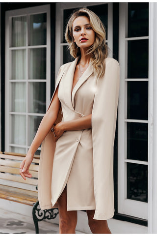 Vintage cloak v-neck blazer dress