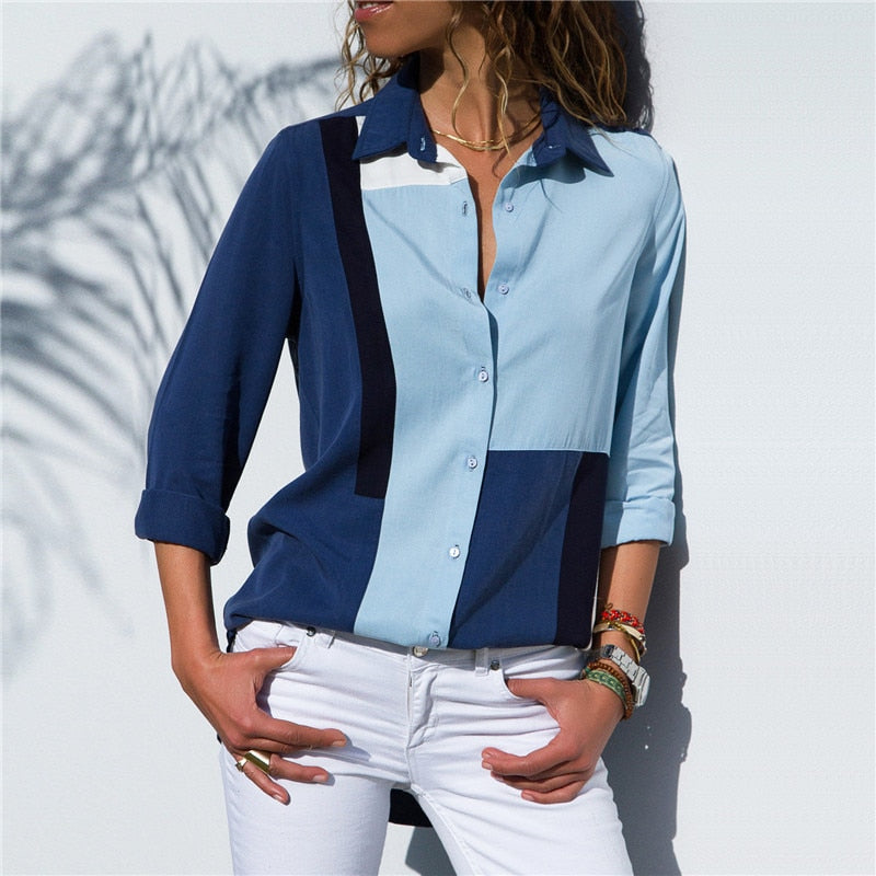 Fashion Long Sleeve Turn Down Collar Office Shirt
