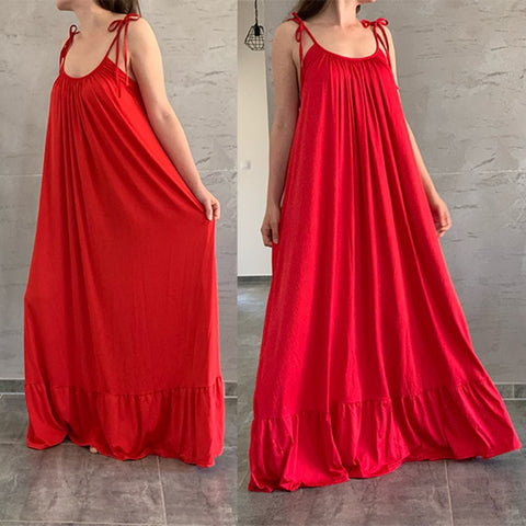 Spaghetti Strap Backless Long Dress