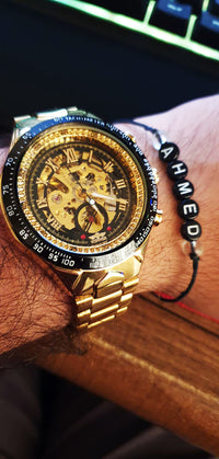 Mechanical Sport Design Bezel Golden Watch