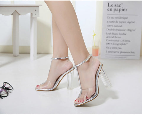 PVC Clear Ankle Strap Perspex High Heels