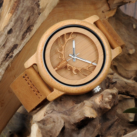 Hollow Deer Head Bamboo Wood Casual Watches