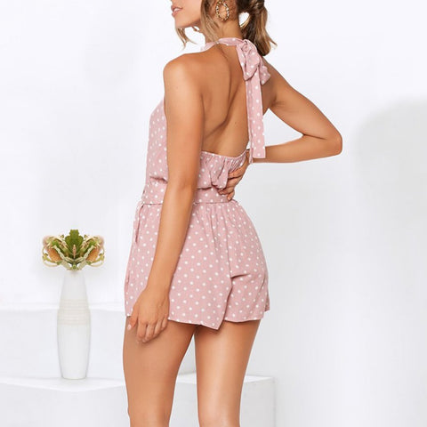 Polka Dot Belted Halter Backless Rompers
