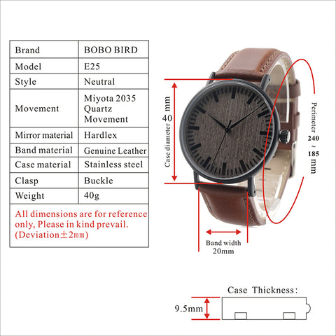 Metal Case Wooden Dial Face Soft Leather Band Quartz Watches