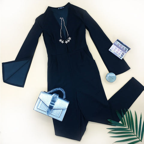 Plunging Neck Cloak Sleeve Modern Sexy Maxi Tapered Jumpsuit