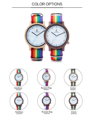 Rainbow Top Wood Watches