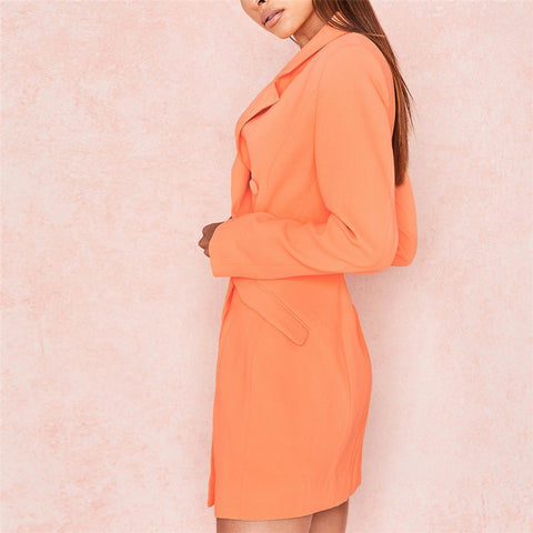 Elegant Button Blazer Dress