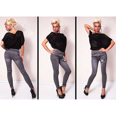 Gray Fashion Style Demin Legging