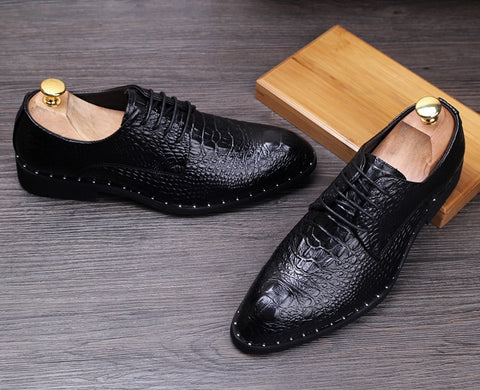Crocodile Dress Leather Business Office Oxfords