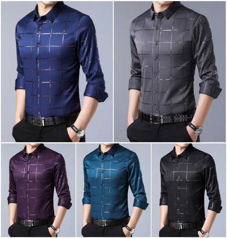 casual luxury plaid long sleeve slim fit dress shirts