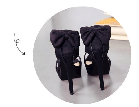 bow platform peep toe high heel