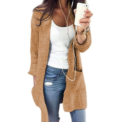 Solid Cardigan Long Sleeve Knitted Sweater
