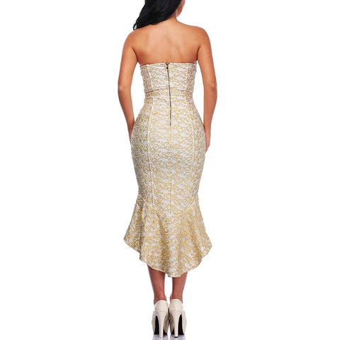 Luxury Gold Embroidery Backless  Dress