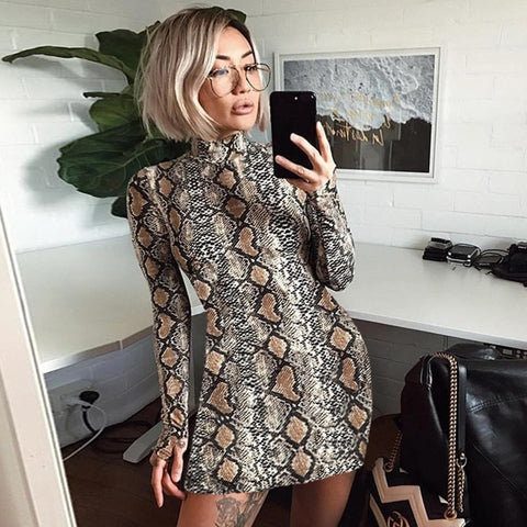 Turtleneck fashion snake print dresses
