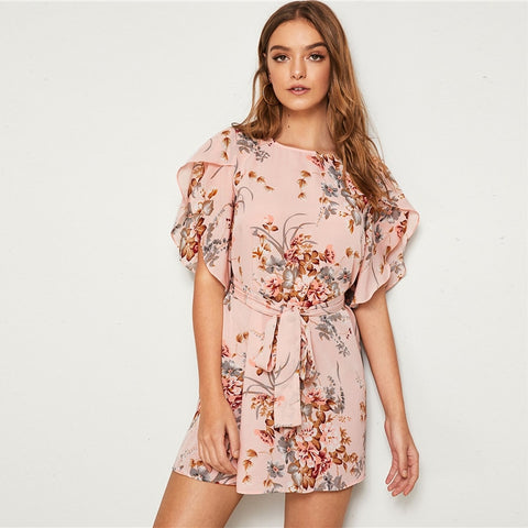 Split Sleeve Self Belted Floral Print Dress