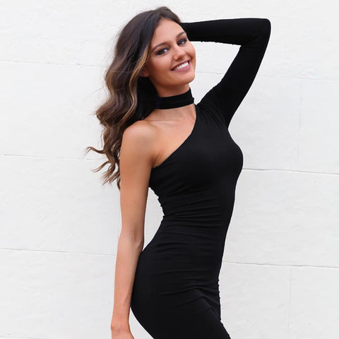 One Shoulder Halter neck Dress