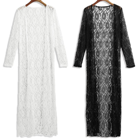 Elegant Sheer Mesh Lace White Black Long Cover Up Kimono