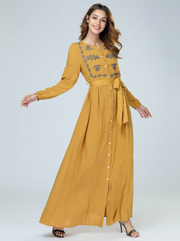 \Elegant Ethnic Floral Embroidery  Dress