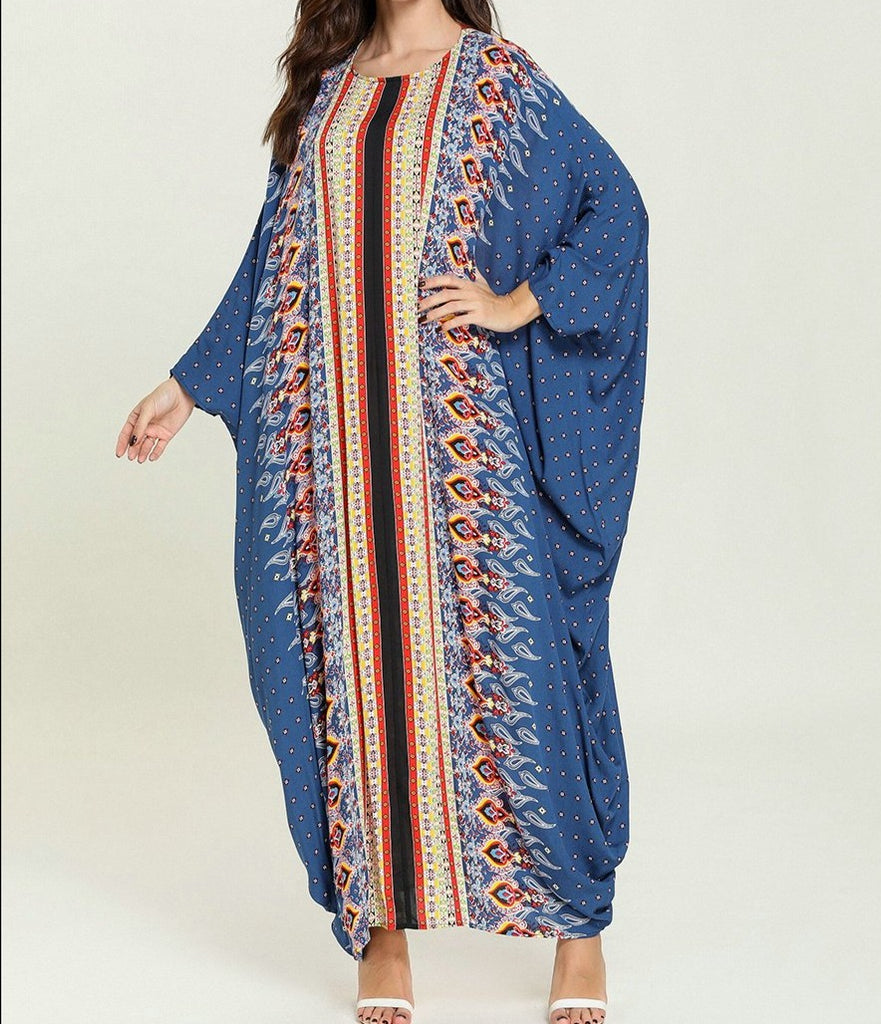 Bat Sleeve   Oversize Ethnic Printing Patchwork Dress