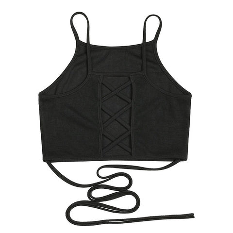 Black Lace Up Tank Top
