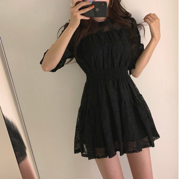 Vestido Black Office Korean Mini Short Dress