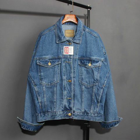 Washed Blue Jeans Turn-down Collar Bomber Jacket