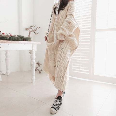 Knitted Loose V Neck Thick Ankle-Length Dress